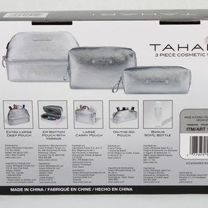Tahari Bags - Tahari 3-Piece Cosmetic Makeup Bag Set Silver NEW